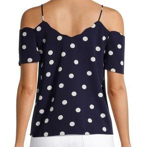 Monteau Polka Dot Off Shoulder Blouse Blue & white
